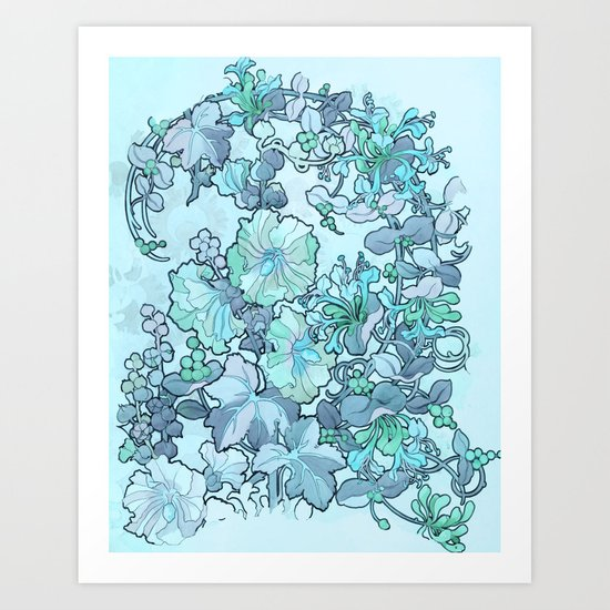 """Alphonse Mucha """"Printed textile design with hollyhocks in foreground"""" (edited blue) by alexandra_arts"""