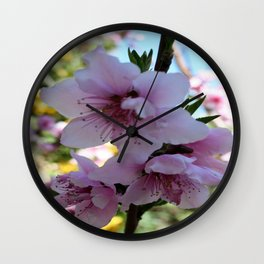 Pastel Shades of Peach Tree Blossom Wall Clock
