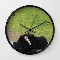 ostrich Wall Clocks featuring ostrich by Ezgi Kaya