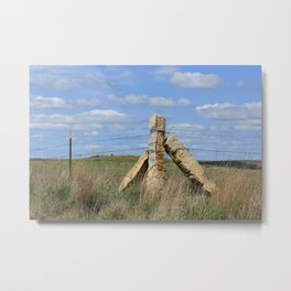 Kansas Corner Stone Post  with blue sky white clouds and Prairie grass Metal Print