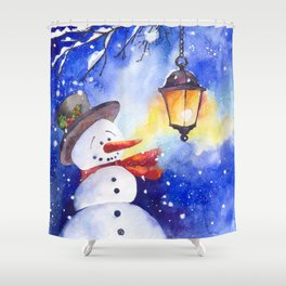 Watercolor snowman in Christmas winter night Shower Curtain