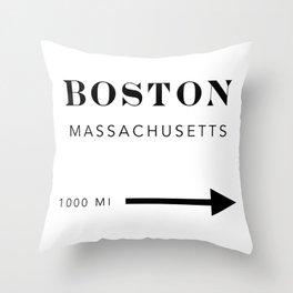 Boston Massachusetts City Miles Arrow Throw Pillow