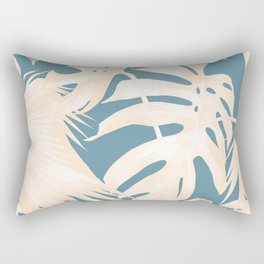 Palm Leaves Citrus on Deep Ocean Blue Rectangular Pillow
