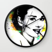 audrey hepburn Wall Clocks featuring AUDREY HEPBURN by Vertigo