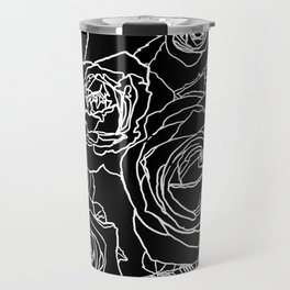 Feminine and Romantic Rose Pattern Line Work Illustration on Black Travel Mug