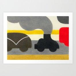 Smoking Piano Car Art Print