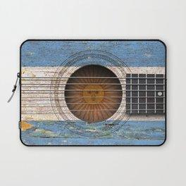 Old Vintage Acoustic Guitar with Argentine Flag Laptop Sleeve