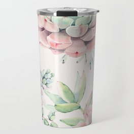 Pink Succulents on Cream Travel Mug