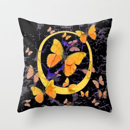 BLACK & YELLOW BUTTERFLIES VIGNETTE ABSTRACT ART Throw Pillow