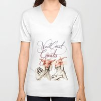 west coast V-neck T-shirts featuring West Coast Goats by Mikael Biström