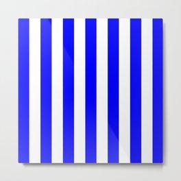 Vertical Stripes (Blue/White) Metal Print
