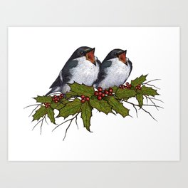 Christmas Illustration: Singing Birds With Holly Leaves, Twigs Art Print