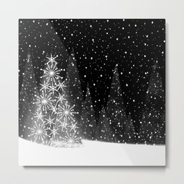 Elegant Black and White Christmas Trees Holiday Pattern Metal Print