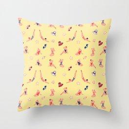 Retro Bathers in Lemoncream Throw Pillow