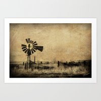Old Windmill • Sepia • Western • Infrared • Texture Art Print