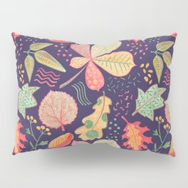 Yellow Leaves On Purple Crayon Drawing, Vibrant Autumn Pattern Pillow Sham