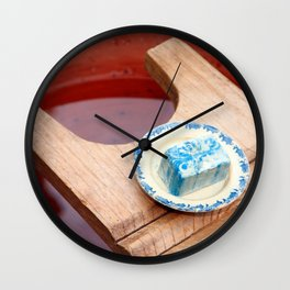 Soap and wooden washboard Wall Clock