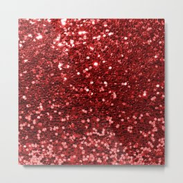 Abstract elegant red chic faux glitter pattern Metal Print