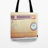 vw bus Tote Bags featuring vw by shannonblue