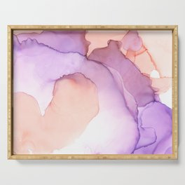 purple and peach ink Serving Tray