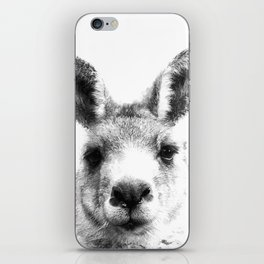 Black and white kangaroo iPhone Skin