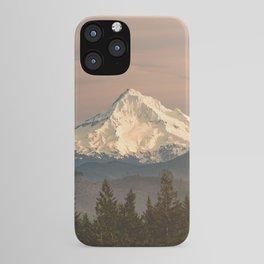 Mount Hood Vintage Sunset - Nature Landscape Photography iPhone Case