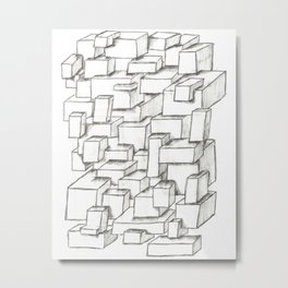 Sketched Cubes Metal Print