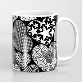 Love Hearts Doodle Art Pattern Coffee Mug