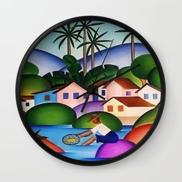 Classical Masterpiece 'An Angler' by Tarsila do Amaral Wall Clock