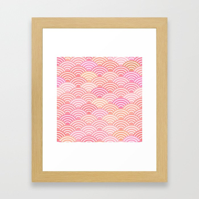dragon fish scales simple pattern Nature background with japanese wave Framed Art Print