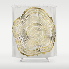 Gold Tree Rings Shower Curtain