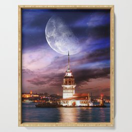 galata girl tower manipulation Serving Tray
