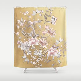 Chinoiserie Gold Shower Curtain
