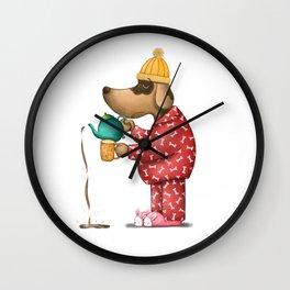 Sleepy Doggie Illustration Wall Clock