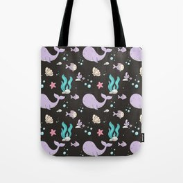 Artistic hand painted lavender teal coral whale sea fish pattern Tote Bag
