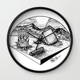 """Camp Sweet Camp"" Nature Camping Original Artwork, Tent Campfire Wall Art Wall Clock"