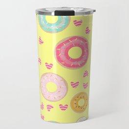 hearts and donuts yellow Travel Mug
