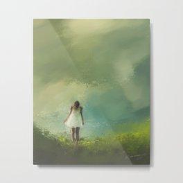 Girl in Grass Metal Print