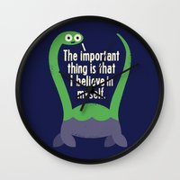 motivation Wall Clocks featuring Myth Understood by David Olenick