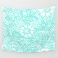 henna Wall Tapestries featuring Henna Design - Aqua by haleyivers