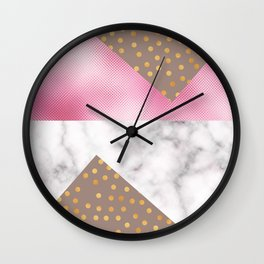 pink foil marble Wall Clock