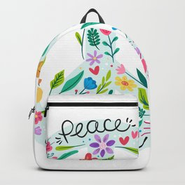 Peace And Love Flowers Sign Backpack