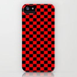 Red Black Checker Boxes Design iPhone Case