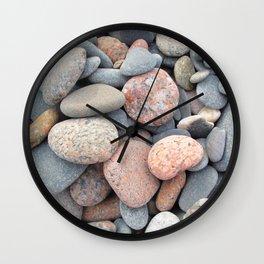Watercolor Rock, Pebbles 05, Cape Breton, Nova Scotia, Canada, No Worries Here Wall Clock