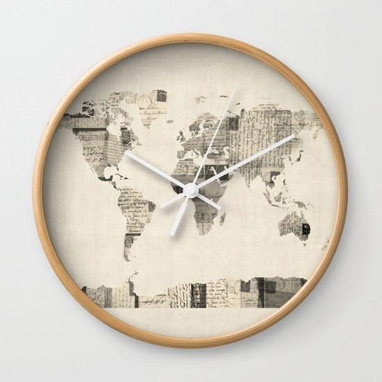Map of the World Map from Old Postcards Wall Clock by ArtPause