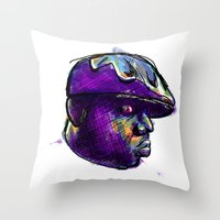 biggie smalls Throw Pillows featuring Biggie Smalls by William Benitez