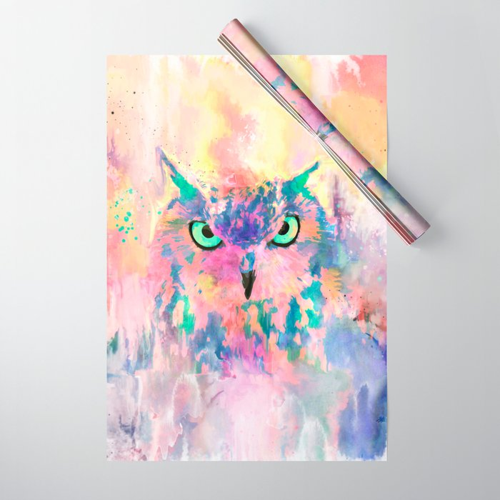 Watercolor eagle owl abstract paint Wrapping Paper
