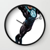 super hero Wall Clocks featuring VW Super Hero by Vin Zzep