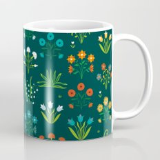 Floral green and red design Mug