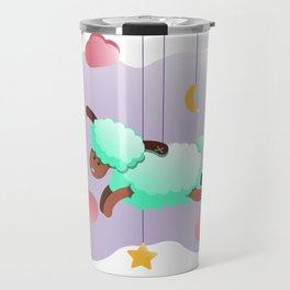 Sheep meent color in pink clouds Travel Mug